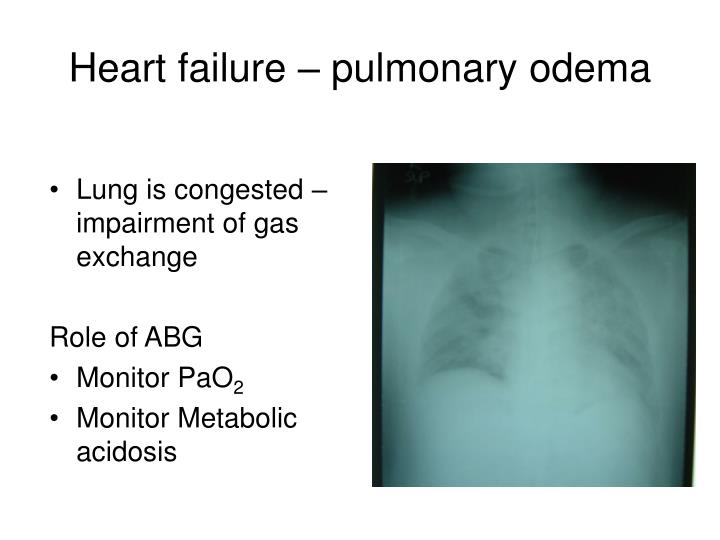 Lung is congested –impairment of gas exchange