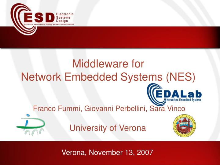 middleware for network embedded systems nes n.