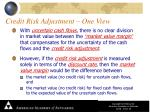 credit risk adjustment one view1