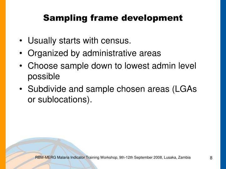 Sampling frame development