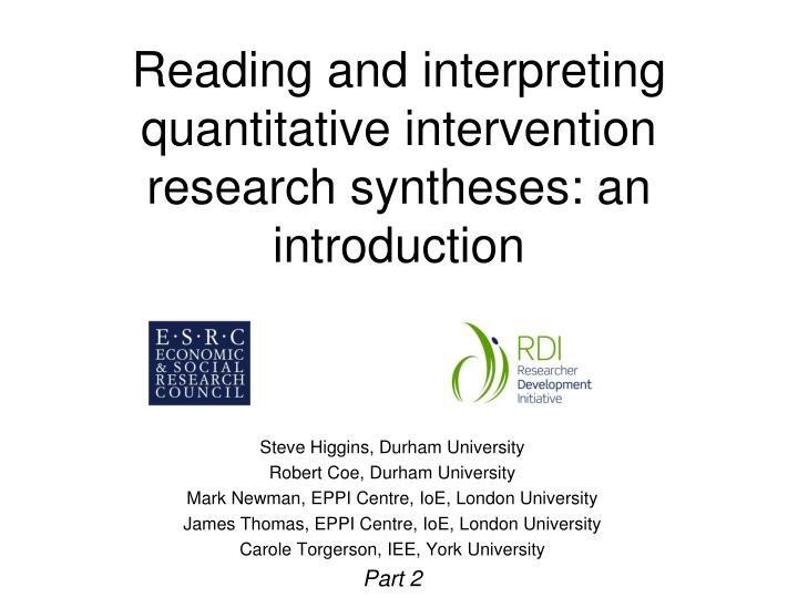 reading and interpreting quantitative intervention research syntheses an introduction n.