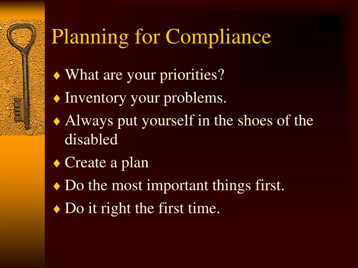 Planning for Compliance