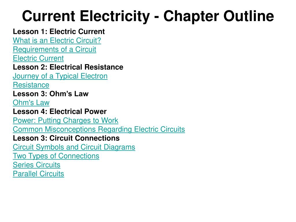 Ppt Current Electricity Chapter Outline Powerpoint Presentation Resistances In Series Electrical Circuits N