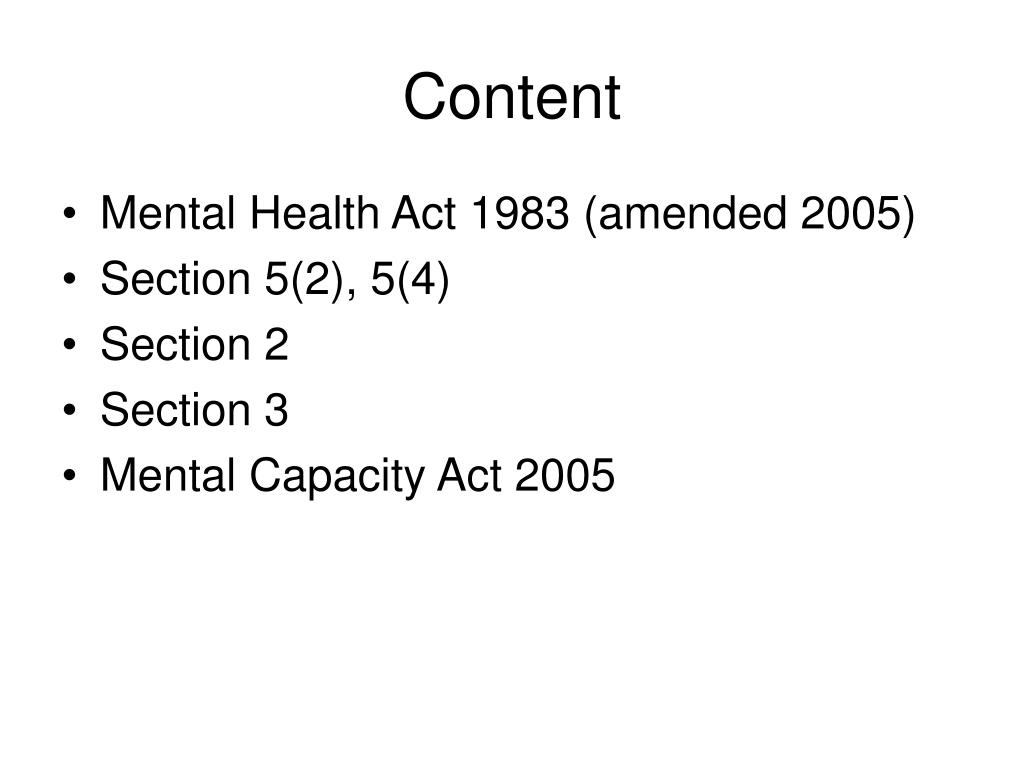 PPT - Mental Health Act PowerPoint Presentation, free ...
