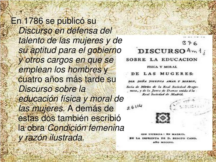 En 1786 se publicó su