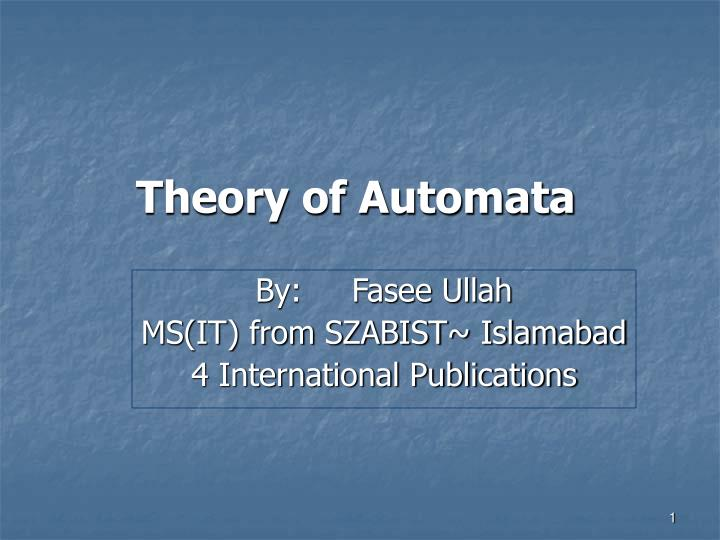 theory of automata n.