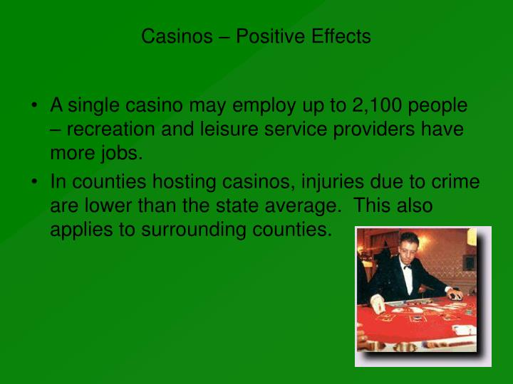 the rise of casino gambling as a negative effect on the community The effect of legalized gambling on state government revenue partly explains the negative relationship between casinos and lotteries.
