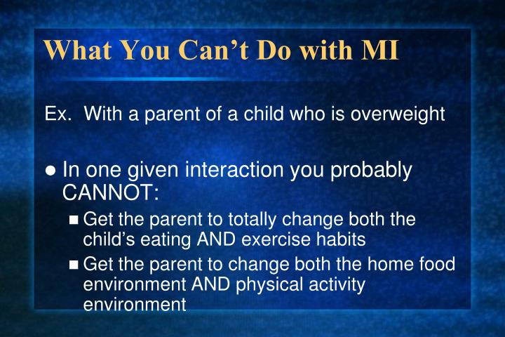 What You Can't Do with MI
