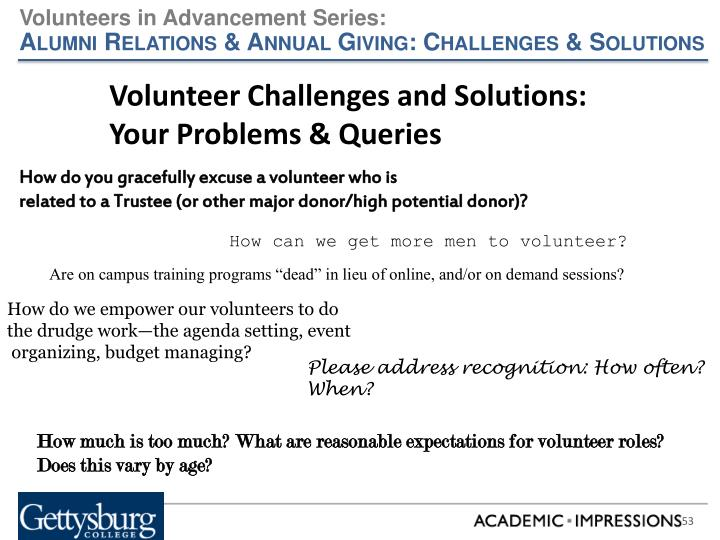 Volunteer Challenges and Solutions: