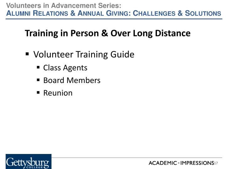 Training in Person & Over Long Distance