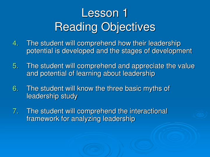 Lesson 1 reading objectives1