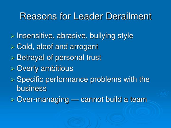 Reasons for Leader Derailment