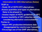 information on ods alternatives swiss