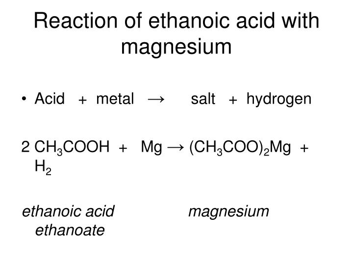 Reaction of ethanoic acid with magnesium