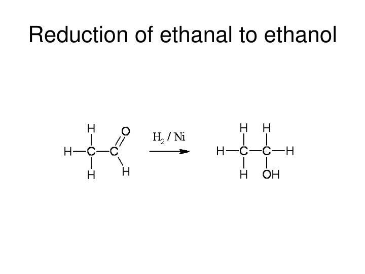 Reduction of ethanal to ethanol