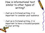 how is informational text similar to other types of writing