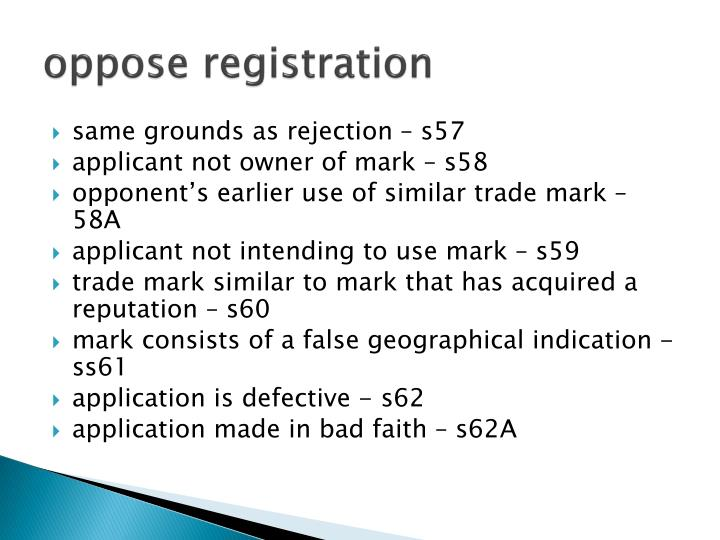 oppose registration