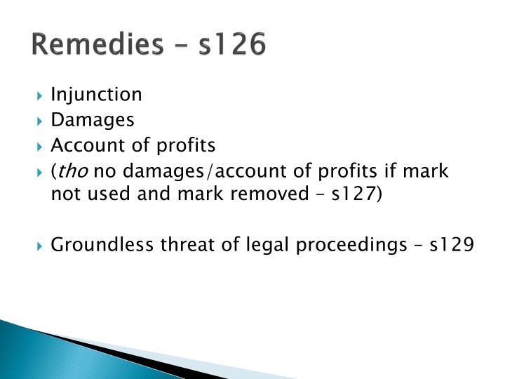 Remedies – s126