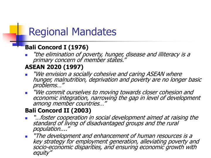Regional mandates