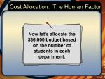 cost allocation the human factor5