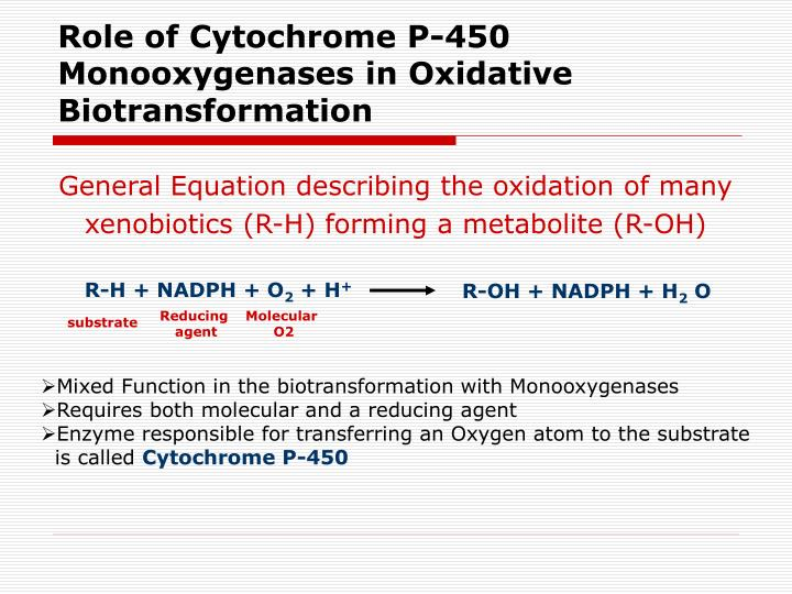 Role of Cytochrome P-450 Monooxygenases in Oxidative Biotransformation