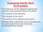 evaluating hostile work environment