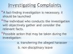 investigating complaints