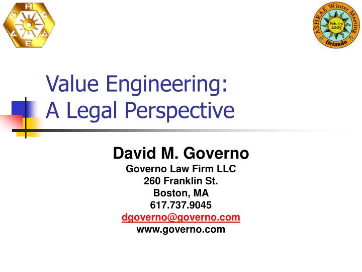 value engineering a legal perspective n.