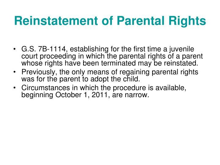 Reinstatement of Parental Rights