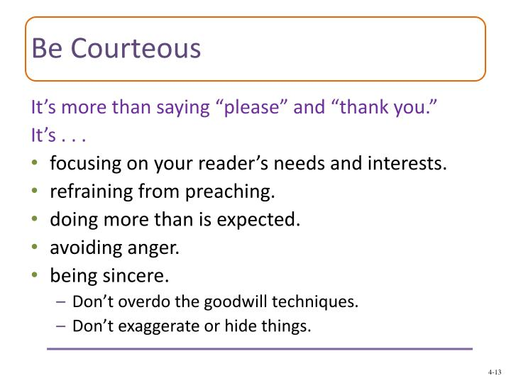 Be Courteous