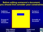 before editing someone s document you should first consider your constraints