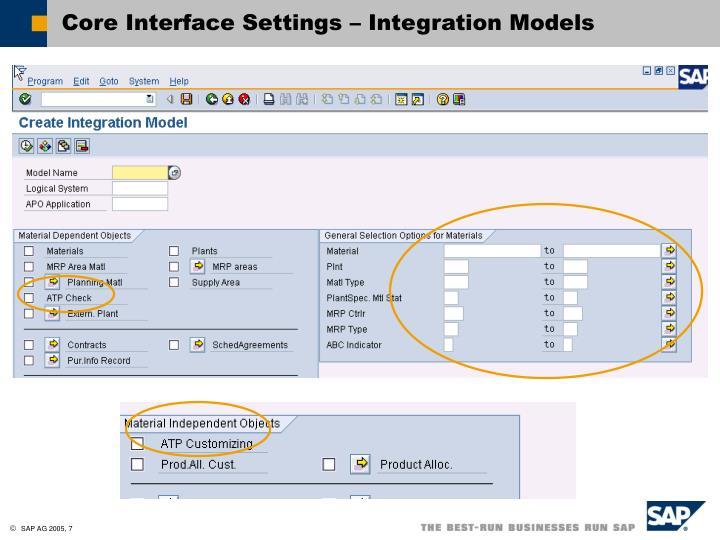 Core Interface Settings – Integration Models