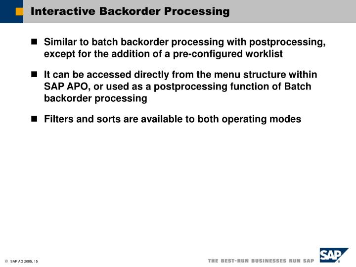 Interactive Backorder Processing