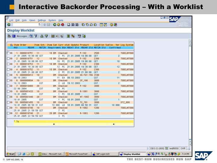 Interactive Backorder Processing – With a Worklist