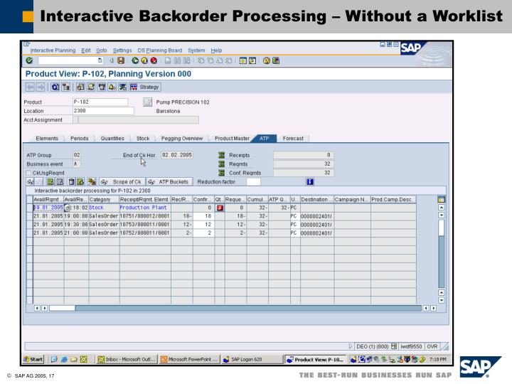 Interactive Backorder Processing – Without a Worklist
