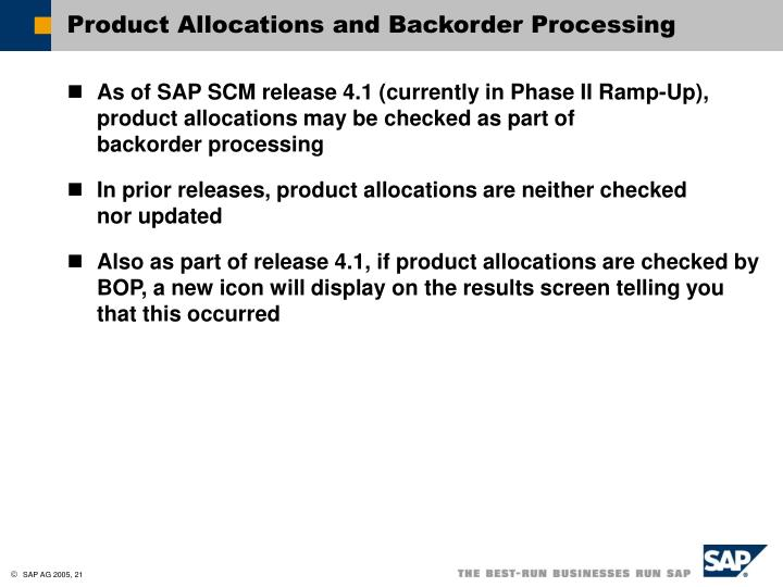 Product Allocations and Backorder Processing