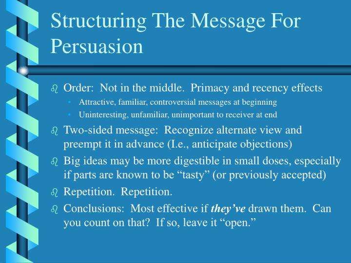 Structuring The Message For Persuasion