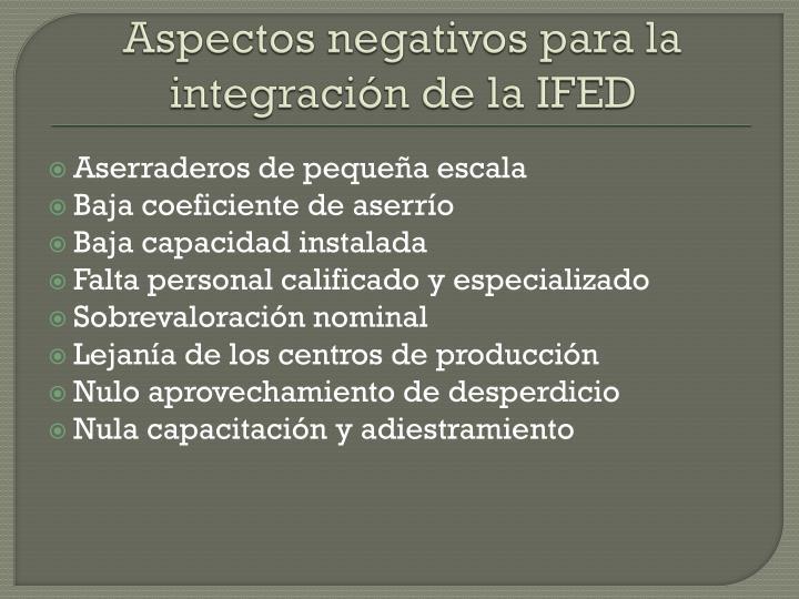 Aspectos negativos para la integración de la IFED
