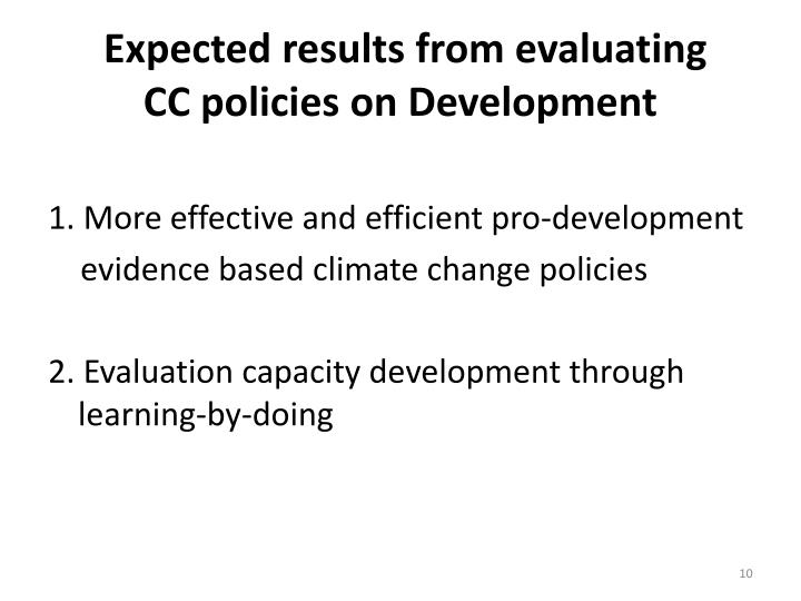 Expected results from evaluating