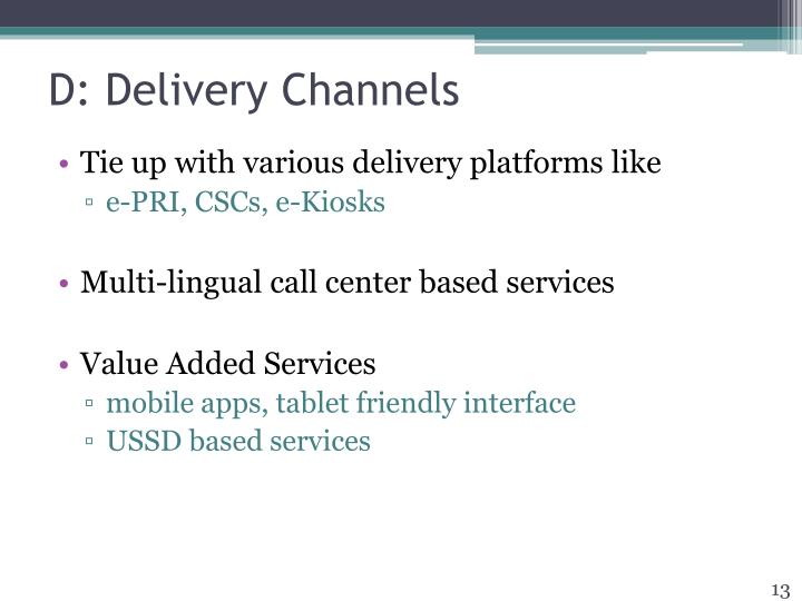 D: Delivery Channels