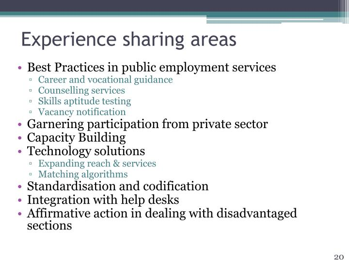 Experience sharing areas