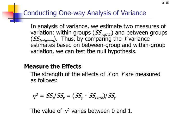 Conducting One-way Analysis of Variance