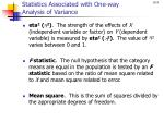 statistics associated with one way analysis of variance