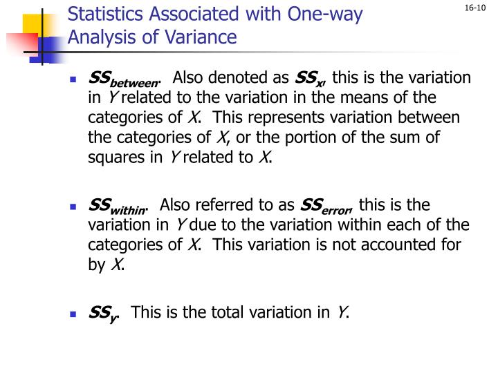 Statistics Associated with One-way