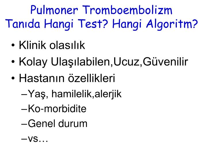Pulmoner Tromboembolizm
