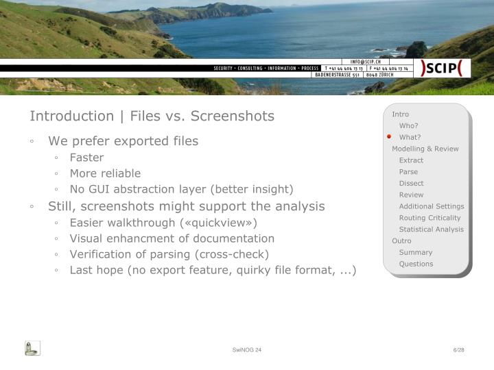 Introduction | Files vs. Screenshots