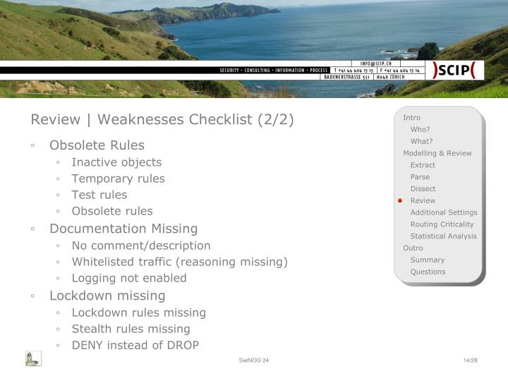 Review | Weaknesses Checklist (2/2)