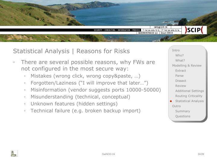 Statistical Analysis | Reasons for Risks