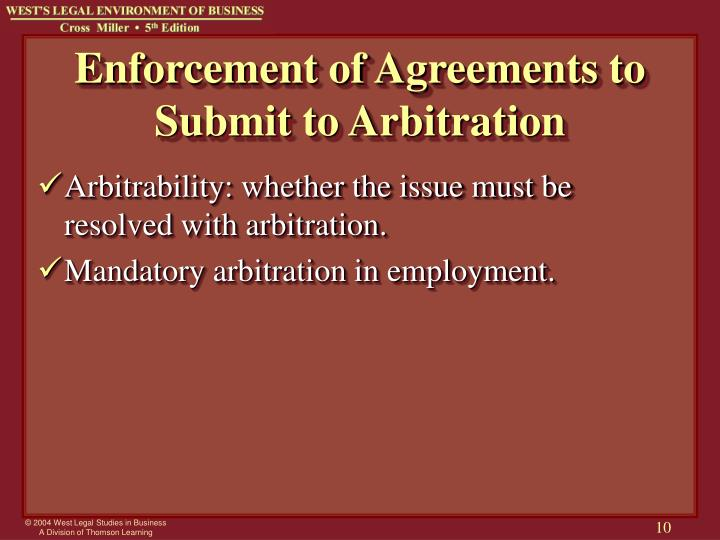 Enforcement of Agreements to Submit to Arbitration