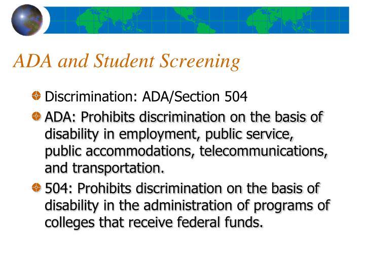ADA and Student Screening